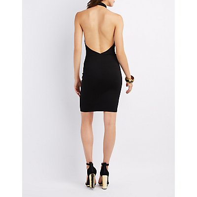 Lattice-Front Mock Neck Bodycon Dress