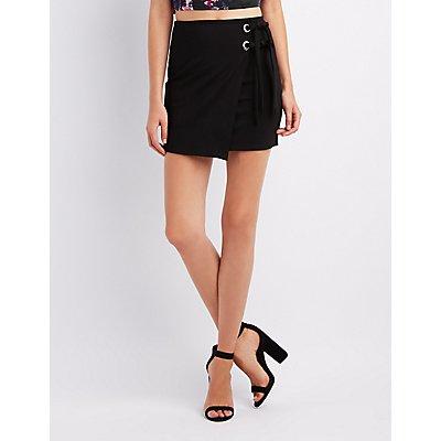 Lace-Up Wrap Mini Skirt