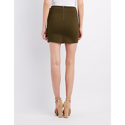 Lace-Up Wrap Mini Skirt