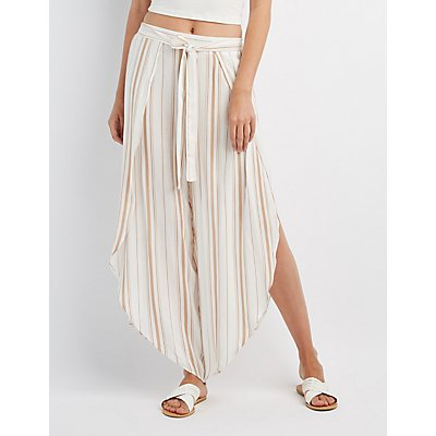 Striped Wrap-Tie Palazzo Pants