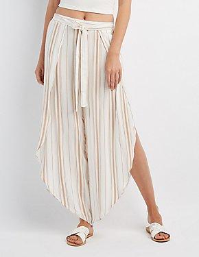 Striped Wrap-Tie Palazzo Pants