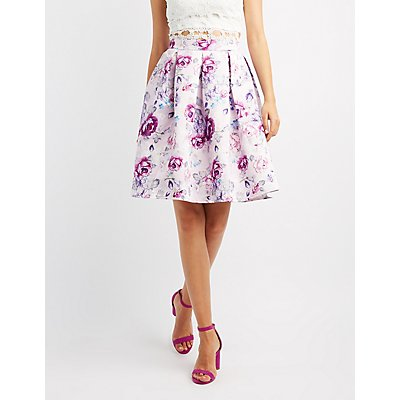Floral Satin Pleated Midi Skirt