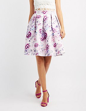 Floral Satin Pleated Midi Skirt