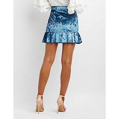 Velvet Ruffle-Trim Skirt