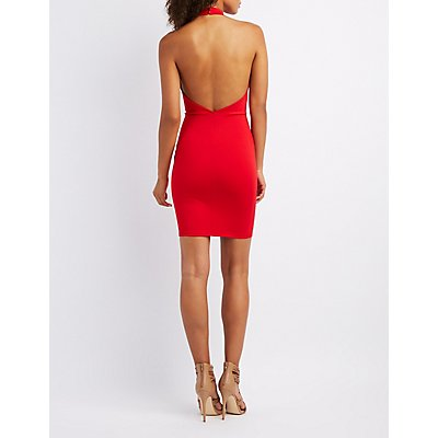 Lattice-Front Halter Neck Bodycon Dress