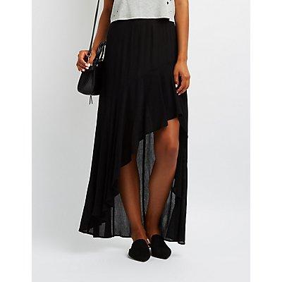 Flounce Asymmetrical Maxi Skirt
