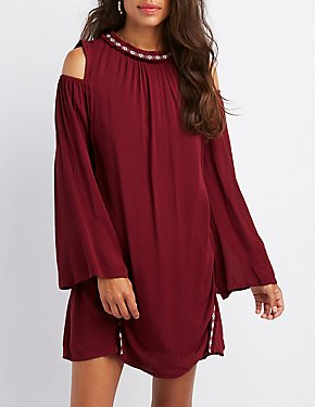 Embroidered Cold Shoulder Shift Dress