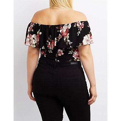 Plus Size Floral Off-The-Shoulder Bodysuit