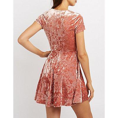 Velvet Plunging Skater Dress