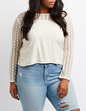 Plus Size Lace Combo Top