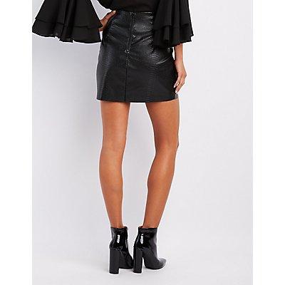 Embossed Snakeskin Skirt