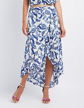 Paisley Ruffle-Trim Wrap Maxi Skirt