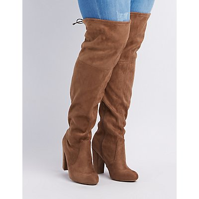 Wide Width Over-The-Knee Chunky Heel Boots