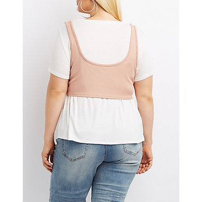 Plus Size Lace-Up Corset-Detail Tee