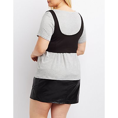 Plus Size Lace-Up Corset-Detail Tee
