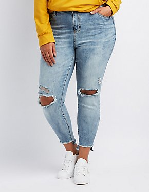 Reufge Plus Size Acid Wash Step Hem Destroyed Skinny Jeans