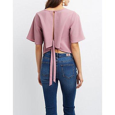 Flutter Sleeve Tie-Back Crop Top