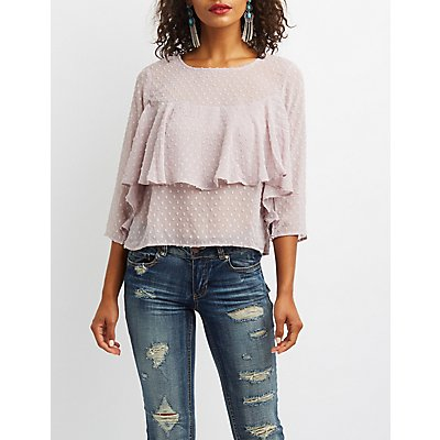 Swiss Dot Ruffle-Trim Top