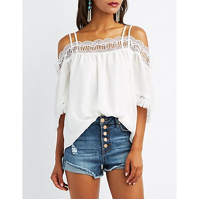 Strappy Crochet-Trim Cold Shoulder Top