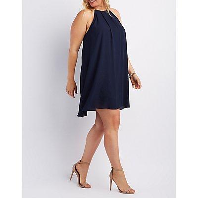 Plus Size Bib Neck Shift Dress
