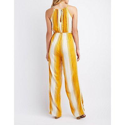 Striped Bib Neck Jumpsuit
