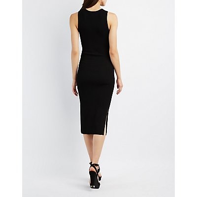 Ribbed Crew Neck Midi Dress