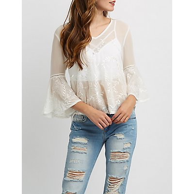 Embroidered Bell Sleeve Split-Back Top