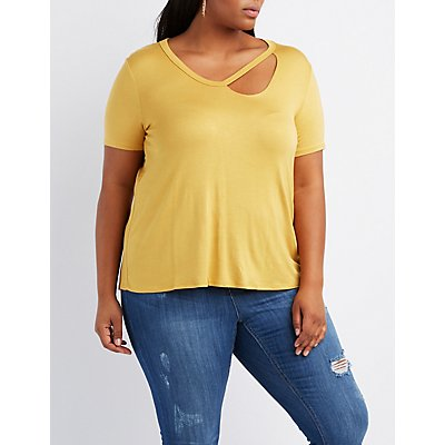 Plus Size Cut-Out Neck Boyfriend Tee
