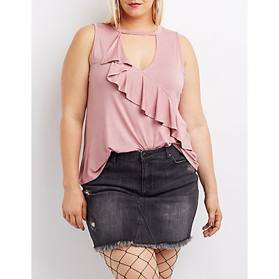 Plus Size Ruffle-Trim Choker Neck Tank Top