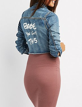 Refuge Graphic Crop Denim Jacket