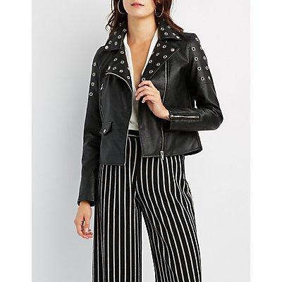 Grommet-Detail Faux Leather Jacket