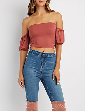 Ribbed Off-The-Shoulder Crop Top