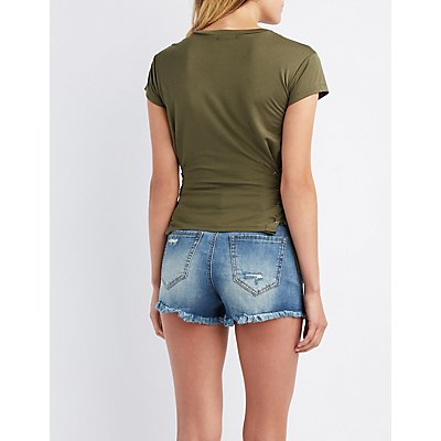 Ribbed Lace-Up Side Top