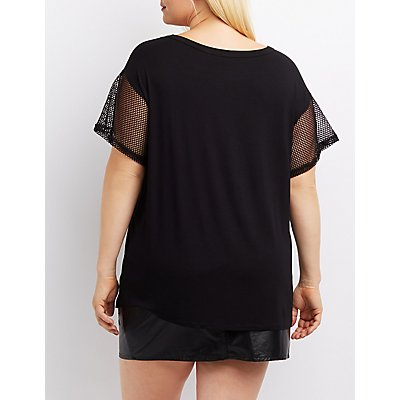 Plus Size Mesh Inset Graphic Tee