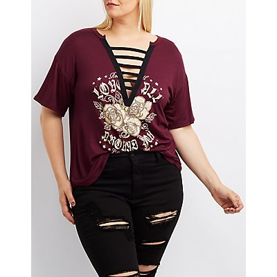 Plus Size Caged Rose Graphic Tee