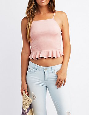 Ruffle Bib Neck Faux Suede Crop Top