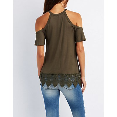 Crochet-Hem Cold Shoulder Top
