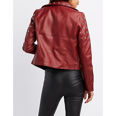 Grommet-Detail Faux Leather Jacket