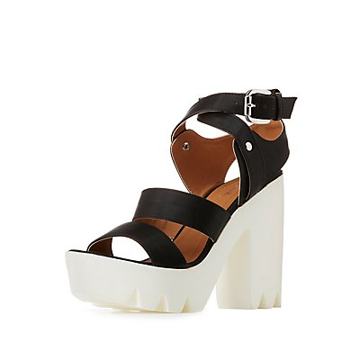 Qupid Lug Sole Platform Sandals