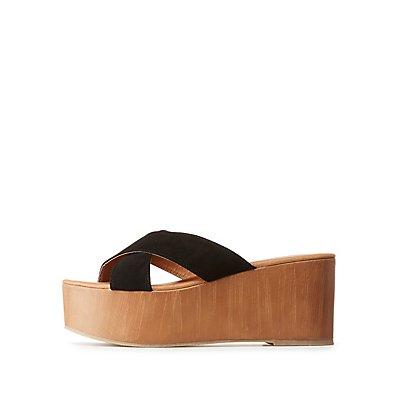 Qupid Flatform Slide Sandals