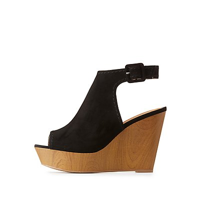 Qupid Slingback Wedge Sandals