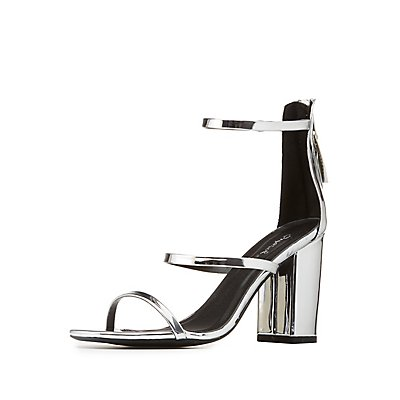 Qupid Metallic Three-Piece Sandals