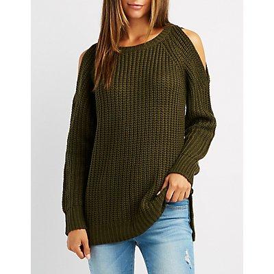 Shaker Stitch Cold Shoulder Sweater