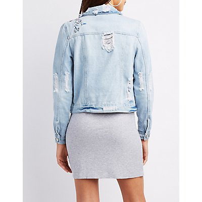 Refuge Embroidered Destroyed Denim Jacket