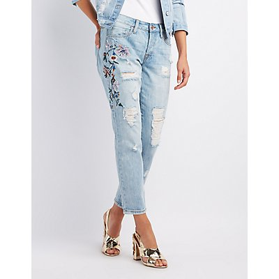 Refuge Embroidered Destroyed Boyfriend Jeans