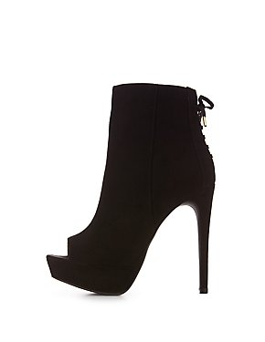 Peep Toe Lace-Up Platform Booties