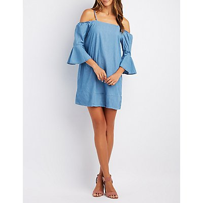 Chambray Cold Shoulder Shift Dress