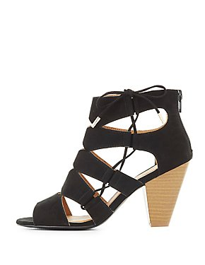 Qupid Laser Cut Lace-Up Sandals