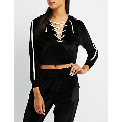 Velour Lace-Up Cropped Hoodie