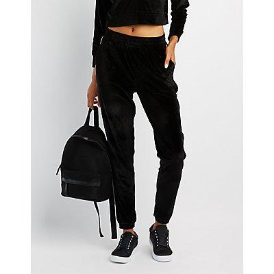 Velour Stripe Jogger Pants
